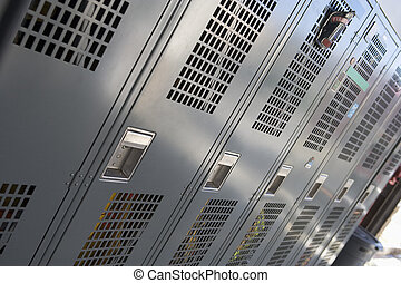 Row of lockers in firehouse (depth of field)