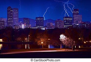 Denver Stormy Evening Lightnings Above Denver Skyline Denver...