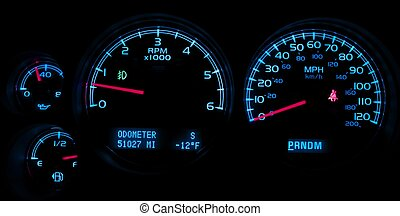 Car Dash Instruments on Black Vehicle Dashboard Closeup