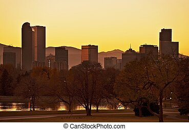 Fall Denver Sunset. Late Fall Sunset in Denver. Denver...