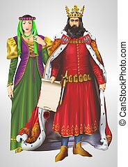 King and Queen Illustration - King and Queen Detailed...