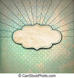 Vintage Sunbeams Background with Label - Vintage background...