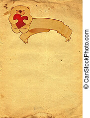 teddy bear with cartouche on old paper