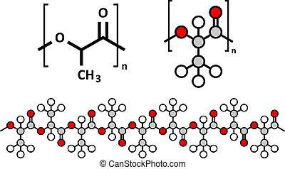 estructura, compostable, utilizado, polímero, Materiales,...