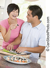 paar, Het bereiden, Sushi, samen