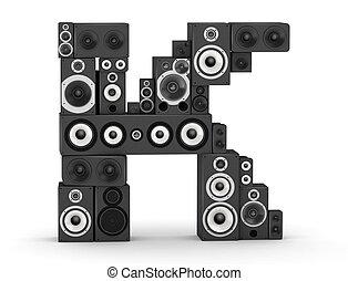 Letter K from speaker - Letter K from black hi-fi speakers...