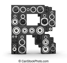 Letter R from speaker - Letter R from black hi-fi speakers...