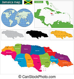 Map of Jamaica with the parishes the capital cities