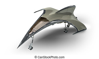 3D model of futuristic spaceship