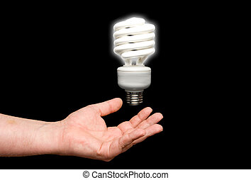 Florescent Light Bulb - A florescent light bulb floating...