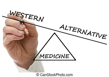 Western vs alternative medicine - Hand drawing scale with...