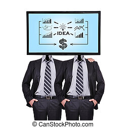 idea strategy - two businessman and monitor with idea...