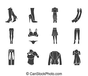 woman and female clothes icons - Silhouette woman and female...