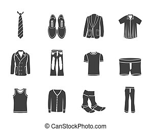 man fashion and clothes icons - Silhouette man fashion and...