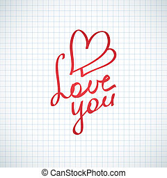 love you, vector hanwritten text