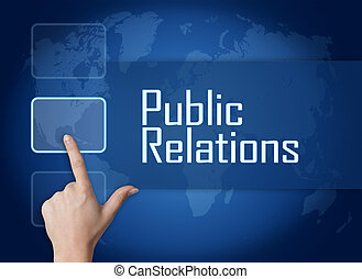 Public Relations concept with interface and world map on...