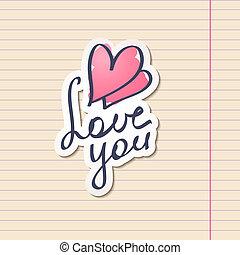 love you, vector hanwritten text