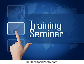 Training Seminar concept with interface and world map on...