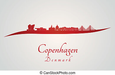 Copenhagen skyline in red and gray background in editable...