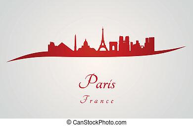 Paris skyline in red