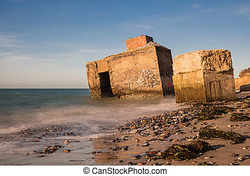 Bunker on shore of the Baltic Sea.