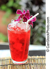 Iced roselle juice Thai culture soft drink