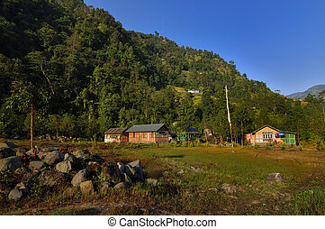 Houses in valley, Reshikhola, Sikkim - Houses in valley,...