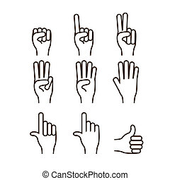 hands gesture over white background vector illustration