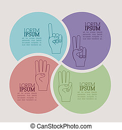 hands gesture over beige  background vector illustration