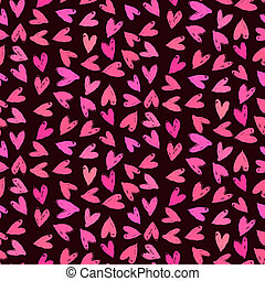 Velentine's day pattern with hand painted hearts. - Texture...