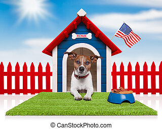 dog house with american flag and bowl full of food