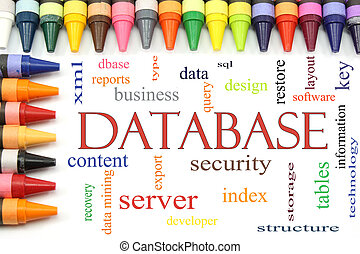 Database word cloud with Crayon Border - Crayons lined in a...