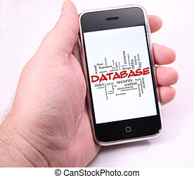 Database word cloud on hand holding Modern touch screen phone