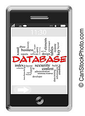 Database Word Cloud Concept on Touchscreen Phone
