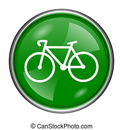 Bicycle icon - Round glossy icon with white design on green...