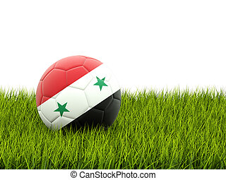 Football with flag of syria on green grass