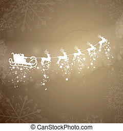 Vector Santa Claus Driving in a Sledge - Vector Illustration...