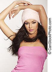 Cor-de-rosa, menina, chapéu, agradável