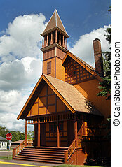 First Congregational Church - Gold, wooden, painted Church...