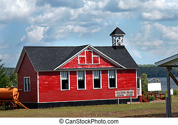 One Room School House - Red, wooden, one-room school house...