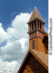 Victorian Stick Architecture - Gold, wooden, painted Church...