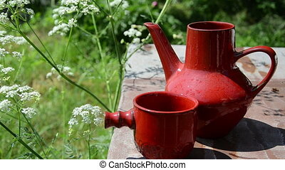 cup water jug - the beautiful red cup poured water from a...