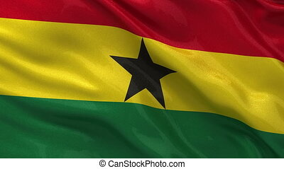 Flag of Ghana seamless loop - Flag of Ghana gently waving in...