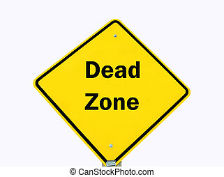 yellow warning sign isolated - Dead zone traffic warning...