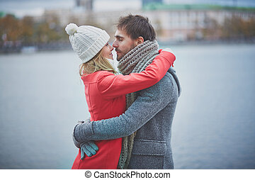 Amorous couple - Portrait of happy guy and his girlfriend in...
