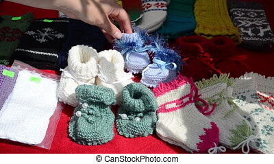 hand-knit wool shoes baby - Hand take colorful homemade wool...