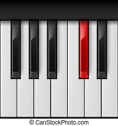 Piano keys - Realistic piano keys with especial red one