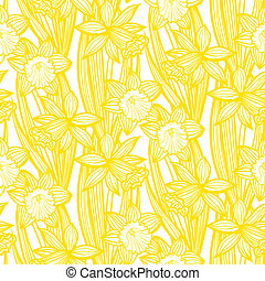 Vintage pattern with daffodils or narcissus. - Seamless...