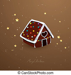 Vector Gingerbread House - Vector Illustration of a...