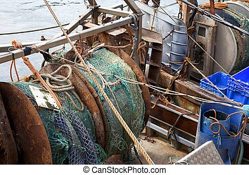 Fishing nets, Looe, Cornwall, England.